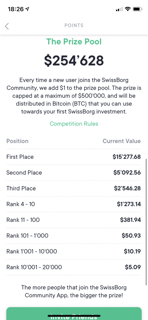Swissborg communitu app - the prize pool and prize value per position.